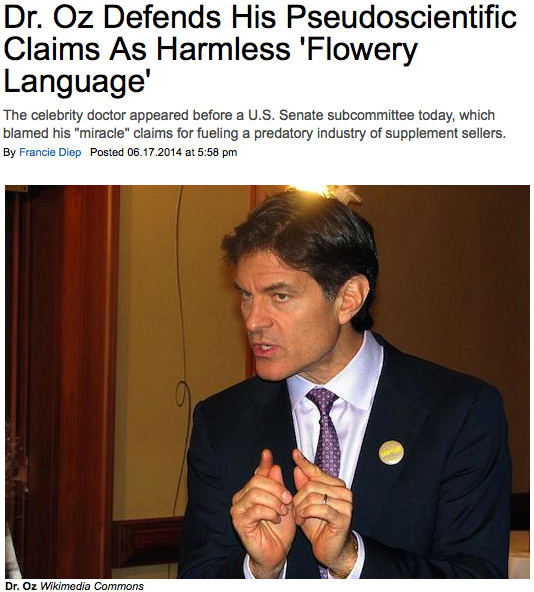 Is dr oz selling snake oil or just using flowery for Dr oz fish oil