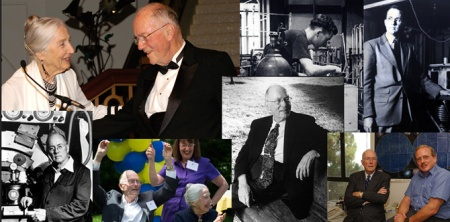 Clockwise from top: Charles & Frances Townes at the Amazing Light Symposium in 2005; Townes early in his career; discussing physics with Reinhard Genzel; 'The Bench' where he sat as his thoughts on how the laser could work became clear; his 99th birthday on the UC Berkeley campus; at work in mid-career. Collage by Sarah Wittmer, physics department.