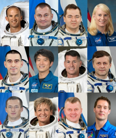 (Top left to bottom right) Expedition 48: Jeff Williams, NASA, Alexey Ovchinin, Russian Federal Space Agency (Roscosmos), and Oleg Skripochka, Roscosmos. Expedition 48/49: Kate Rubins, NASA, Anatoly Ivanishin, Roscosmos, and Takuya Onishi, Japan Aerospace Exploration Agency (JAXA). Expedition 49/50: Shane Kimbrough, NASA, Andrey Borisenko, Roscosmos, and Sergey Ryzhikov, Roscosmos. Expedition 50: Peggy Whitson, NASA, Oleg Novitskiy, Roscosmos, and Thomas Pesquet, European Space Agency.