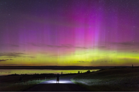 The Northern Lights put on a gorgeous show near Duck Lake, Mont., early Monday morning. (Phillip Granrud via spaceweather.com)
